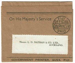 Fiji 1900's OHMS wrapper with pre-printed Fiji Official Gov. Printer Paid