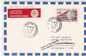 France 1973 Airmail Paris Aviation Cancels Int. Railways Stamp Card Ref 31725