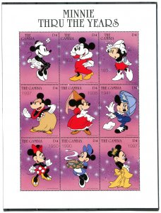 Gambia 1998 DISNEY MINNIE THRU THE YEARS Sheet Perforated Mint (NH)