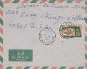 Ivory Coast 25F Bongo Antelope 1964 Man, Cote D'Ivoire Airmail to Chicago, Il...