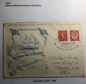 1960 Greenwich England First Day Cover FDC National Maritime Museum Exhibition