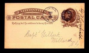 1886 Lodi NY Fancy Negative Star Cancel Card - L23925