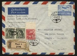 CZECHOSLOVAKIA 1947 airmail cover to USA - cinderellas on reverse..........70029