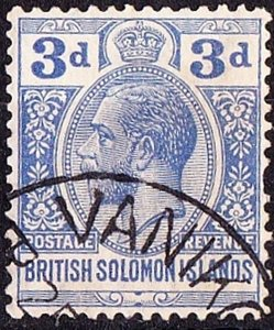 BRITISH SOLOMON ISLANDS 1922 KGV 3d Pale Ultramarine SG44 FU