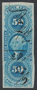 U.S. R56a USED 50c BLUE FOREIGN EXCHANGE IMPERF VF