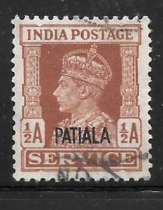 India Patiala O64: 1/2a George VI, used, F-VF