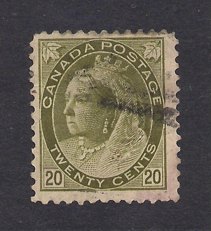 Canada #84 Olive Green - 20 Cents - Used