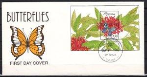 Guyana, Scott cat. E16. Butterflies, Express o/print s/sht. First day covers. ^