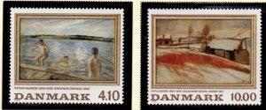 Denmark Sc 863-64 1988 Paintings stamp set mint NH