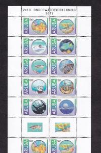 Aruba  #410   MNH  2012  sheet with 2  blocks of  10  + 2 labels  underwater exp