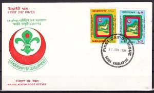 Bangladesh, Scott cat. 190-191. Nat`l Jamboree. Diff. Cancel. First day cover. ^