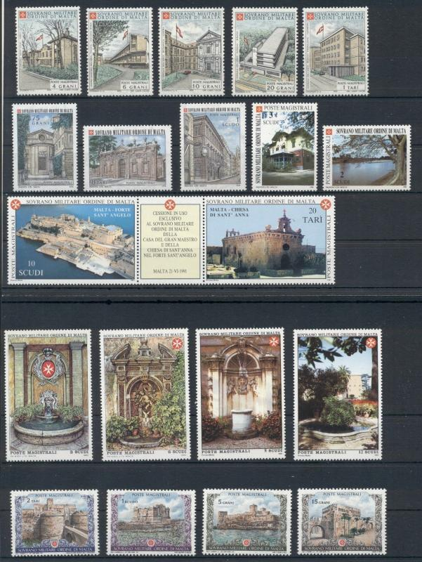 Architecture Castles Sovereign Order of Malta 21 MNH stamps set
