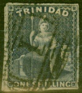 Trinidad 1859 1s Purple-Slate SG44 Pin-Perf 13.5 Fine Used