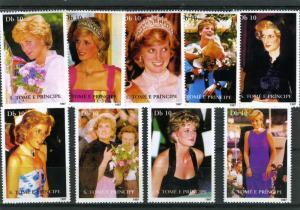 SAO TOME & PRINCIPE 2007 Princess Diana Set 9 Stamps Perforated mnh.VF