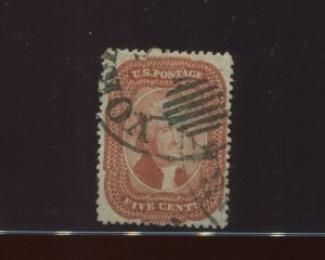 27 Jefferson Brick Red Type 1 Used Stamp with NY Ocean CCL & PF Cert (27-PF1)