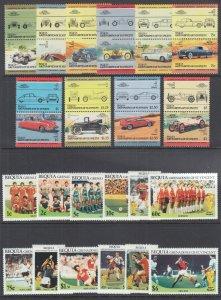 St. Vincent Grenadines, Bequia Sc 86/229 MNH. 1984-1986 Automobiles & Soccer