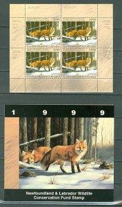 NEWFOUNDLAND & LABRADOR 1999 WILDLIFE RED FOX #NLW6b SHEET of 4..MNH...$42.00