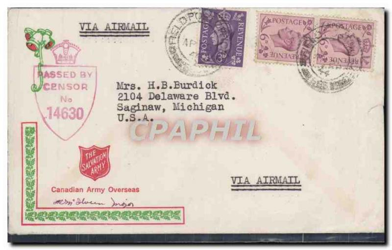 Letter Field Post Office to Saginaw Michigan Canadian Army o