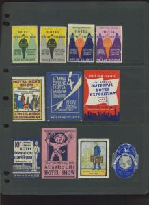 17 HOTEL SHOW & EXPOSITION & HOTEL RELATED  POSTER STAMPS LOT #L163