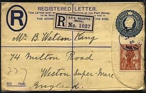 MALTA 1926 uprated 3d reg envelope used Valetta to UK...........19215