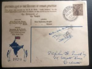 1929 Dum Dum India Airmail cover To Calcutta Lady Jackson Signed Aviation Histor