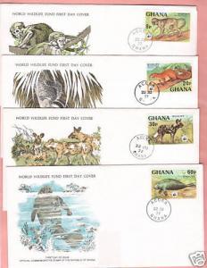 Ghana Sc 621-24 FDC 1977 Endangered Animals on 4 FDC-s