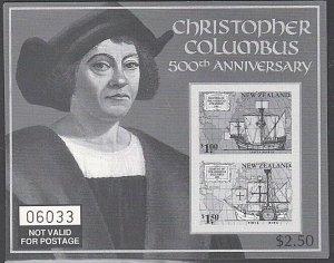 NEW ZEALAND 1992 Columbus - official black print of mini sheet.............E332C