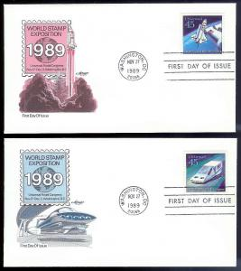 UNITED STATES FDCs (4) 45¢ UPU Airmail 1989 Artmaster