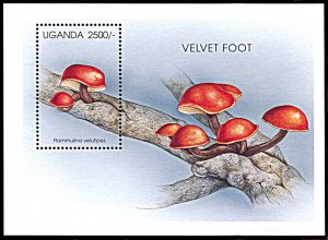 Uganda 1423, MNH, Mushroom souvenir sheet, Velvet Foot