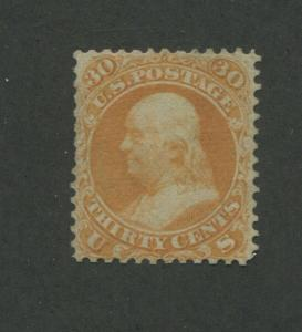 1861 United States Postage Stamp #71 Used F/VF Removed Cancel Certified