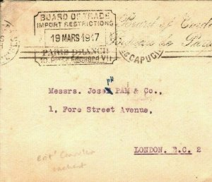 FRANCE WW1 Cover *BRITISH BOARD OF TRADE* Paris Consular Cachet GB 1917 G244
