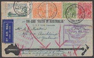 AUSTRALIA 1934 Faith in Australia Capt Ulm flight cover to New Zealand......N539