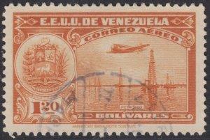 Venezuela 1938-39 1.20b Orange. Fine Used. Scott C99, SG 526
