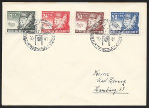 POLAND Sc#NB8-11 Cover canceled 1941 Warsaw to Hamburg