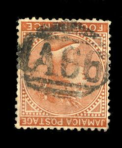 JAMAICA - ca.1885 - A66 of PORT-MARIA on SG 22b 4d red-brown Wmk. Crown CA