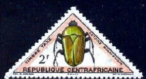 Insect, Beetle, Central African Republic stamp SC#J5 Mint
