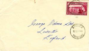 Trinidad 5c QEII General Post Office and Treasury 1954 Arouca, Trinidad to Le...