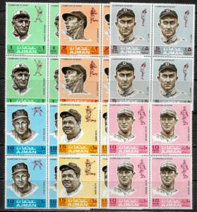 Ajman Michel #388-93 MNH Blocks - Baseball Players