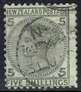NEW ZEALAND 1878 QV 5/- USED