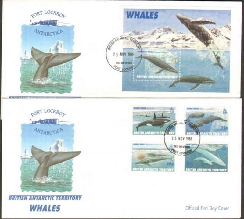 1996 BRITISH ANTARCTIC TERRITORY FIRST DAY WHALES SET / SOUVENIR SHEET + CACHETS