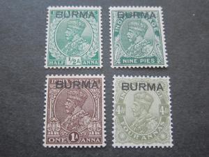 Burma 1937 Sc 2-4,9 MH