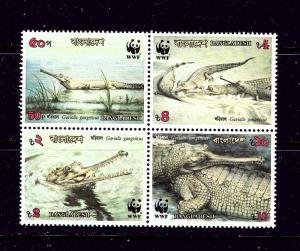 Bangladesh 343a MNH 1990 W.W.F. block of 4