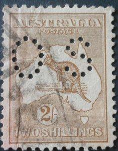 Australia 1915 Two Shillings Kangaroo Official SG O49 used