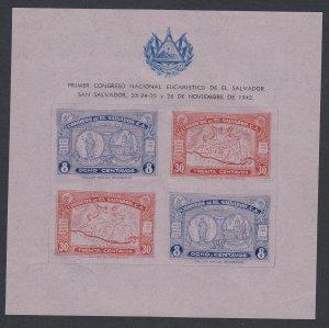 El Salvador 1942 Souvenir Sheet on Lilac Tinted Paper. Scott 588
