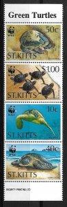 1995 St Kitts 381-4  Turtles/World Wildlife Fund MNH C/S vertical strip of 4