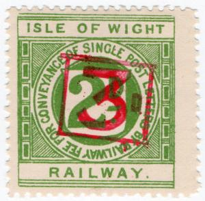 (I.B) Isle of Wight Railway : Letter Stamp 3d on 2d OP