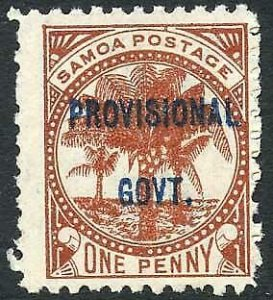 Samoa SG91 1d Chestnut opt Provisional Govt M/M