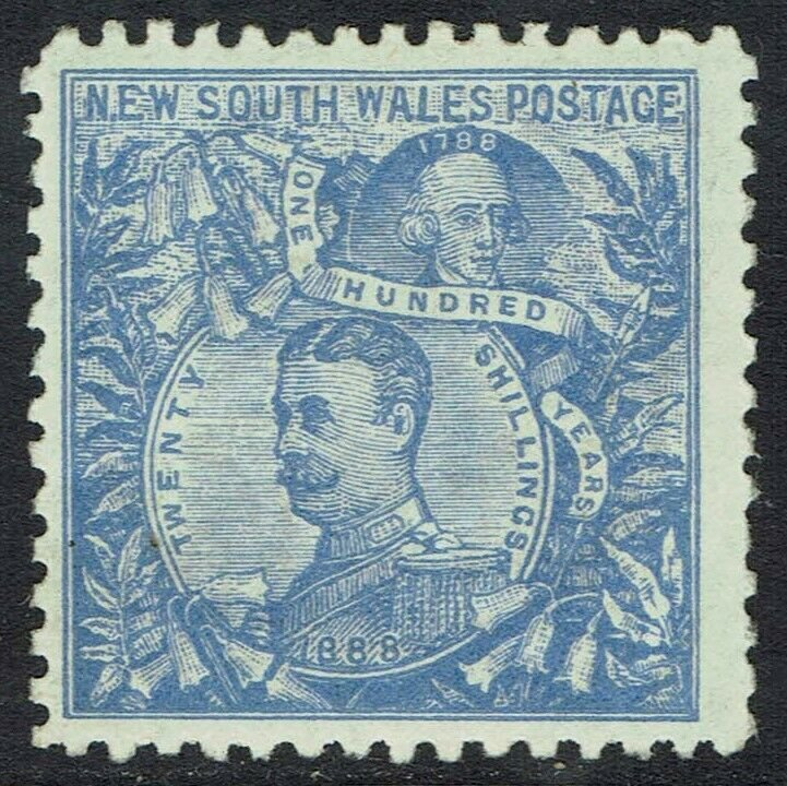 NEW SOUTH WALES 1890 CARRINGTON 20/- WMK NSW 20/- IN CIRCLE PERF 11