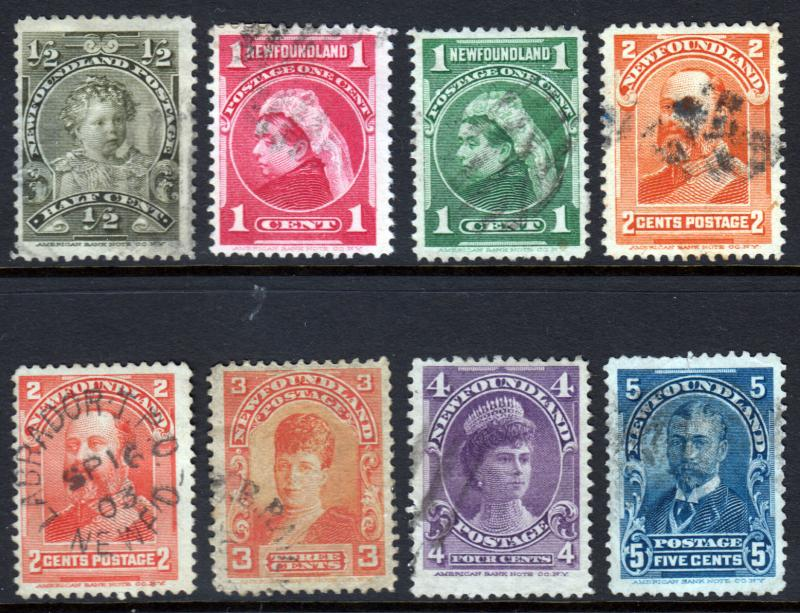 Newfoundland QV 1897 Set SG83-SG90 Generally Fine Used inc TPO