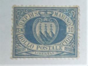 1877 SAN MARINO SCOTT #7 MINT HINGED CAT 325.00 Free US Shipping